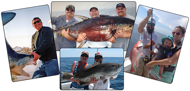Collage: Deep Sea Fishing aboard the Yankee Star Charter Boat in the Gulf of Mexico off of Alabama shores